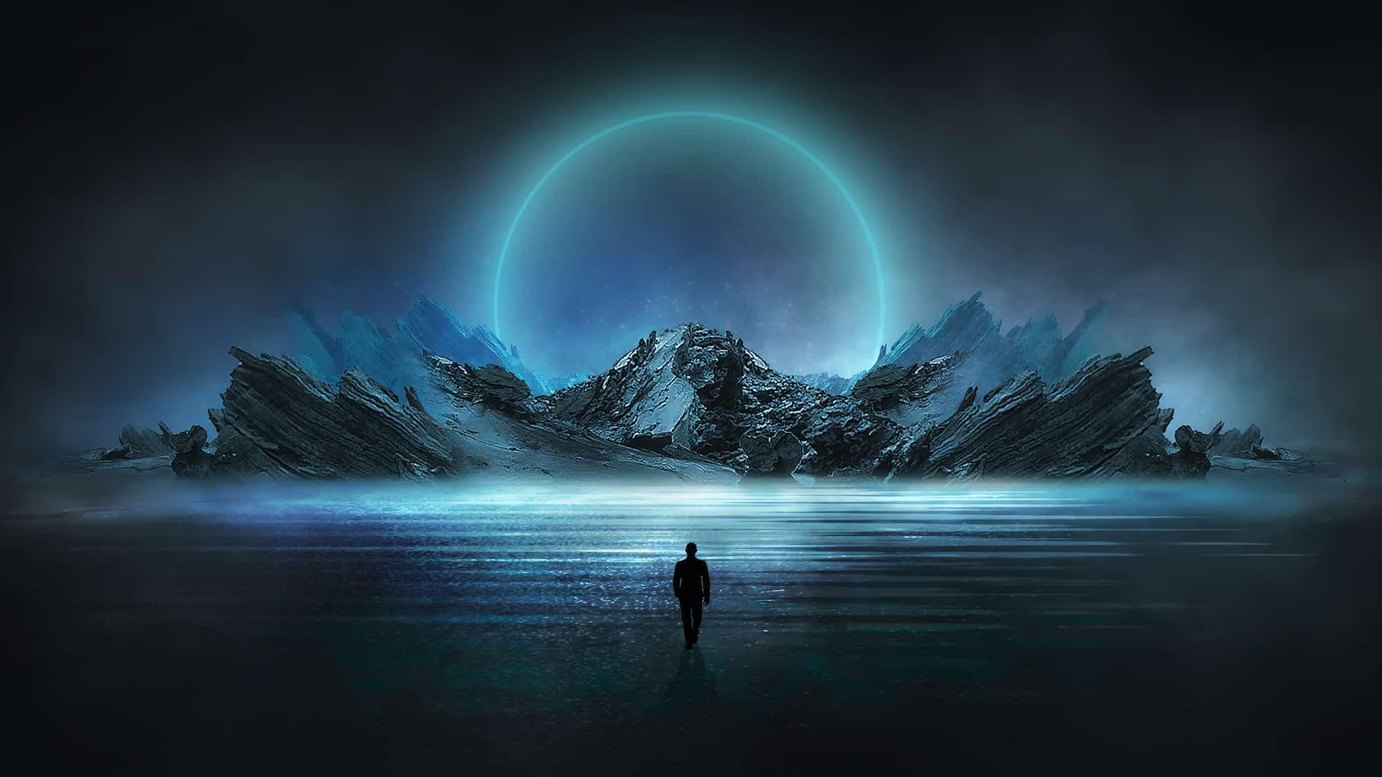 Une silhouette dans l'eau face à une lune néon