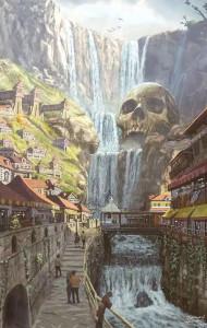 Une petite ville avec une rivière et une pierre en forme de crâne