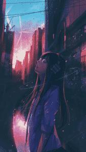 Une fille dans la nuit prenant une bouffée d'oxygène