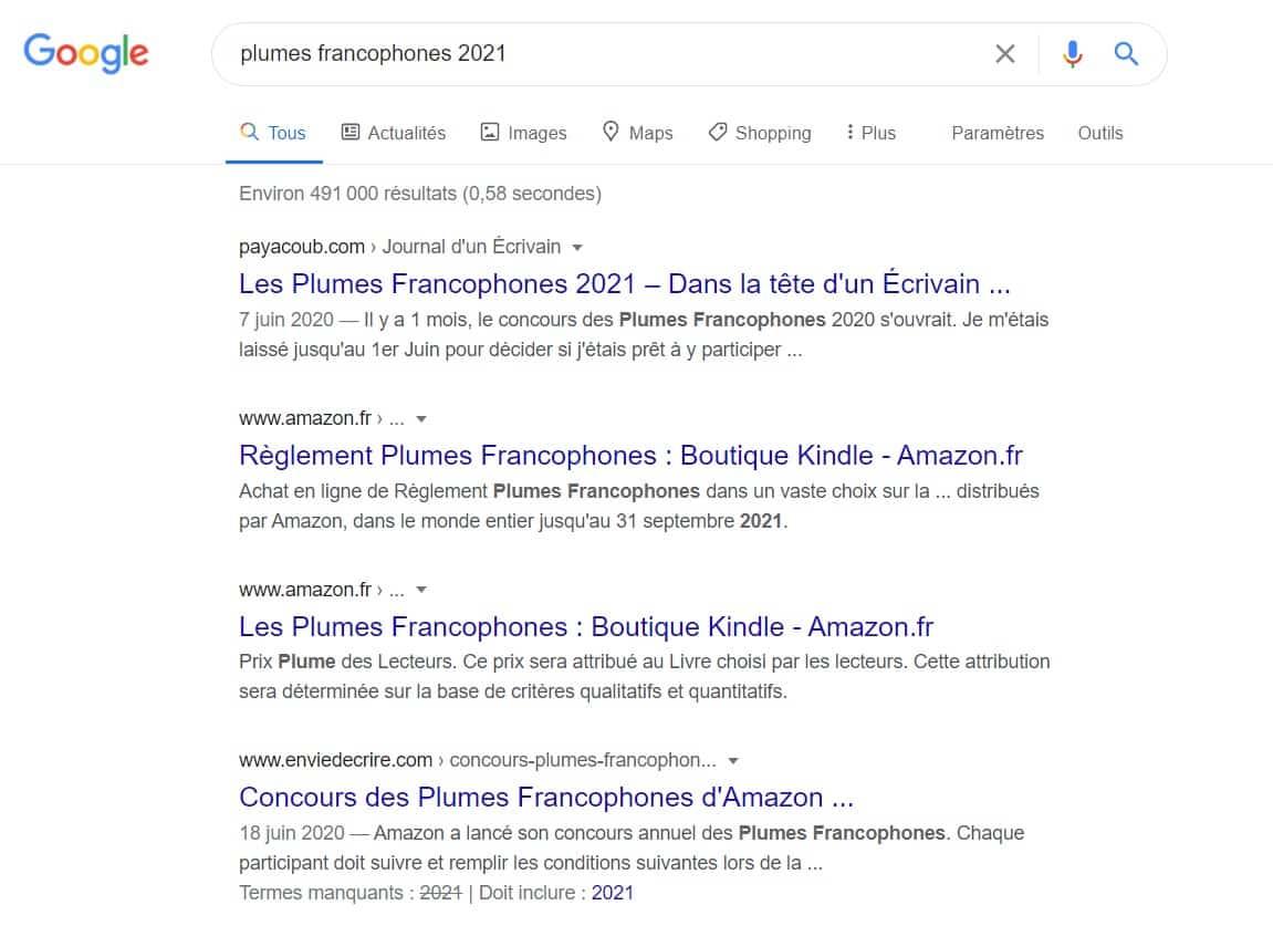 """Recherche Google: """"plumes francophones 2021"""""""